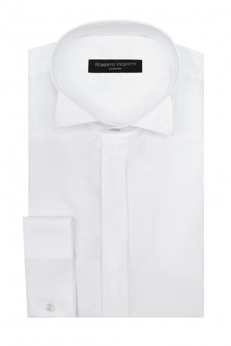 White groom shirt in cotton lycra with wing tip collar